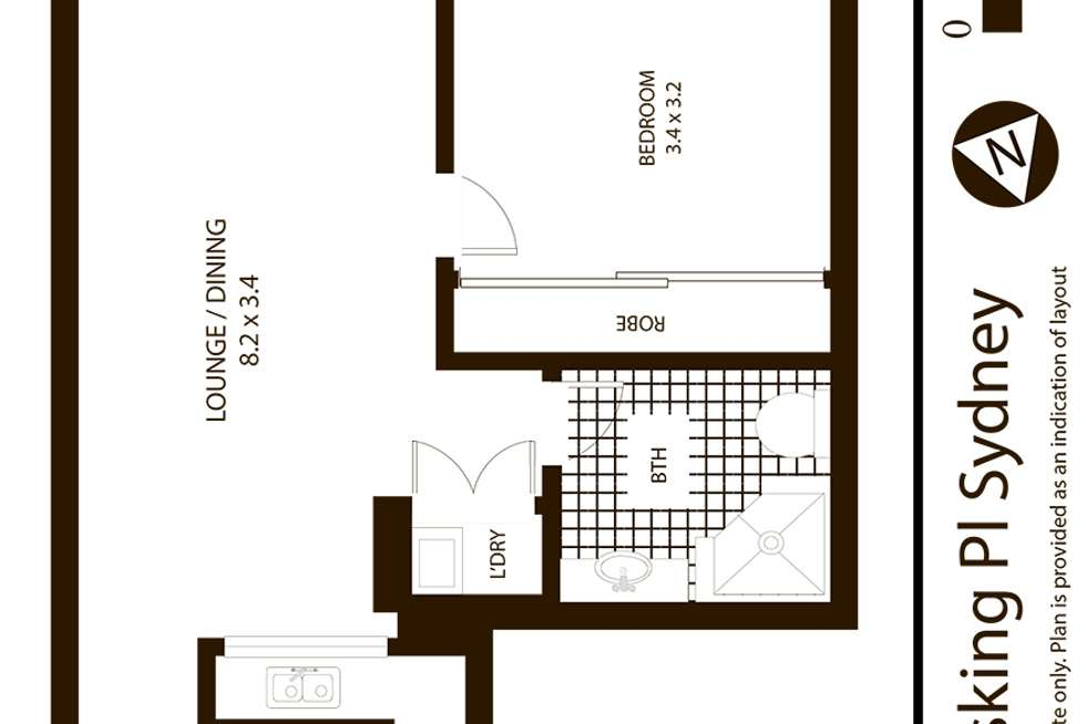 Floorplan of Homely apartment listing, 806/1 Hosking Place, Sydney NSW 2000