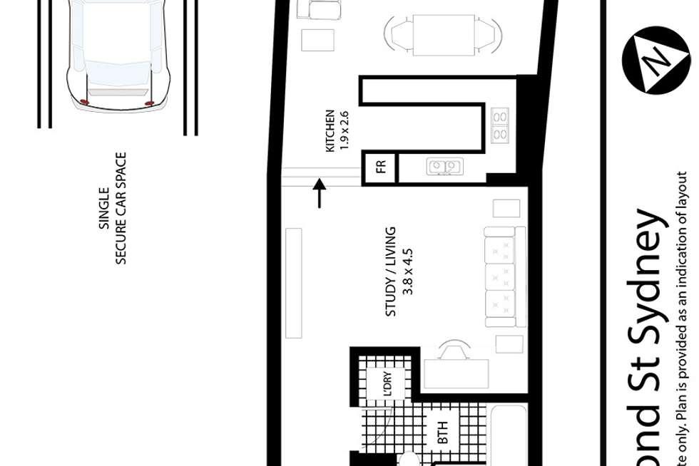 Floorplan of Homely apartment listing, 2 Bond Street, Sydney NSW 2000