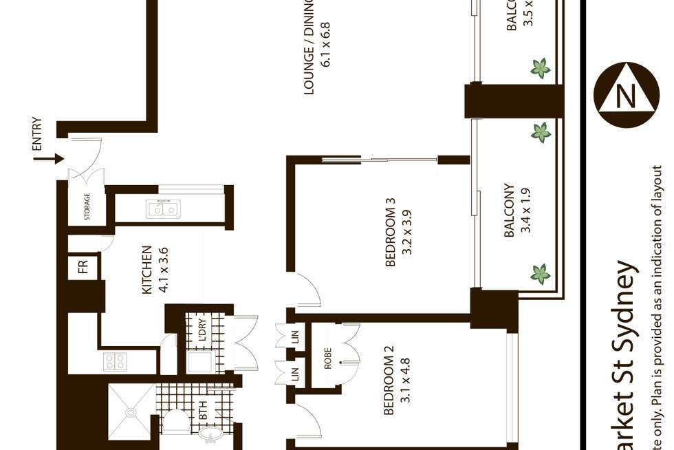Floorplan of Homely apartment listing, 3402/68-70 Market Street, Sydney NSW 2000