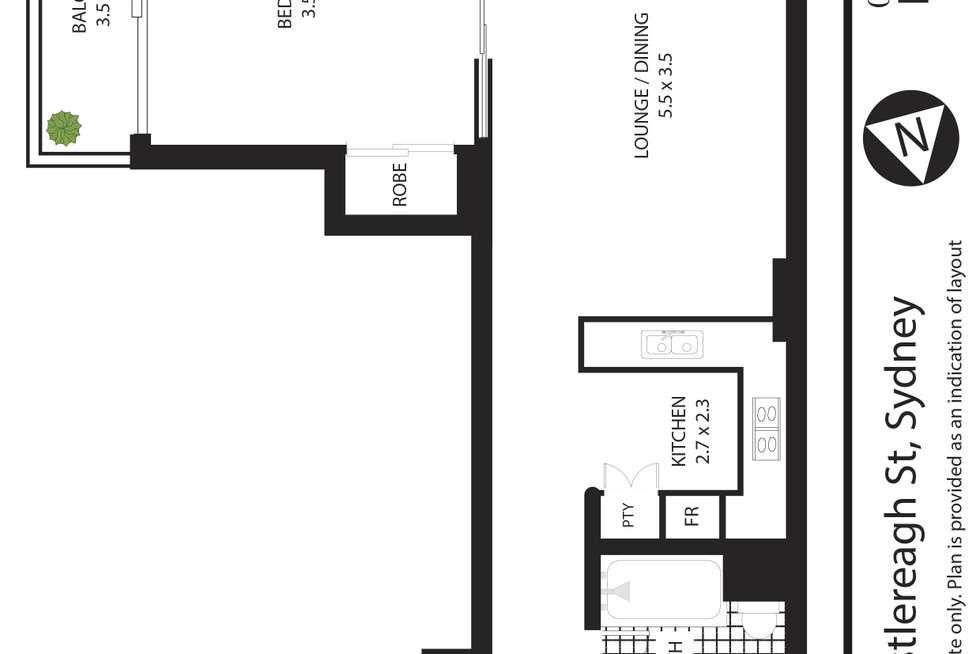 Floorplan of Homely apartment listing, 1606/199 Castlereagh Street, Sydney NSW 2000