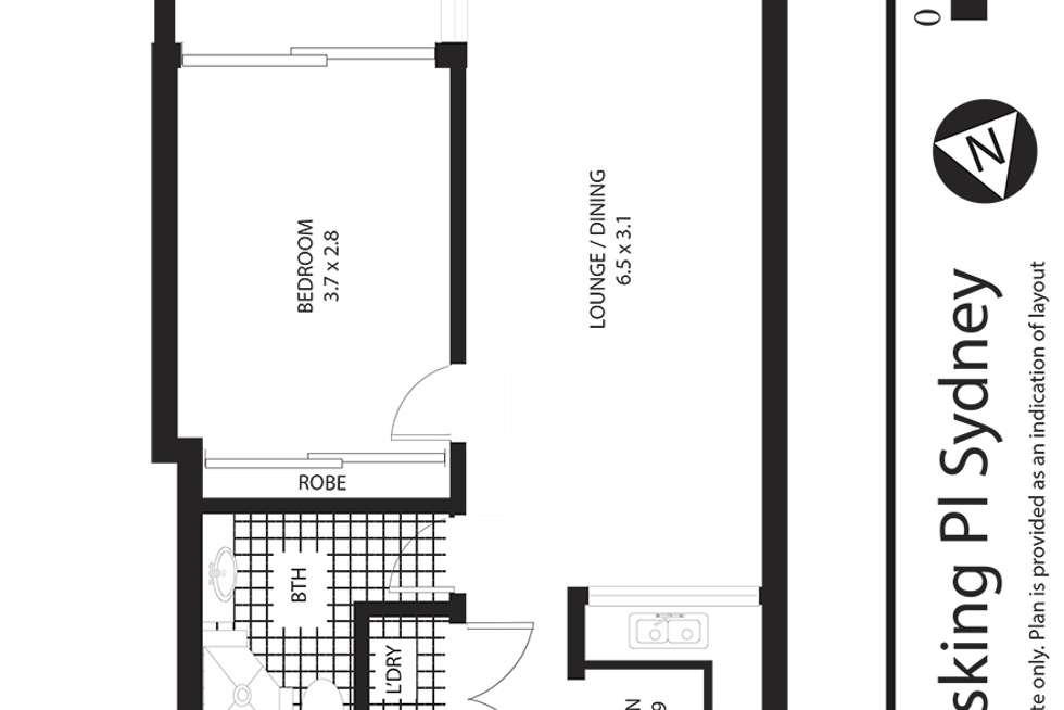 Floorplan of Homely apartment listing, 1103/1 Hosking Place, Sydney NSW 2000