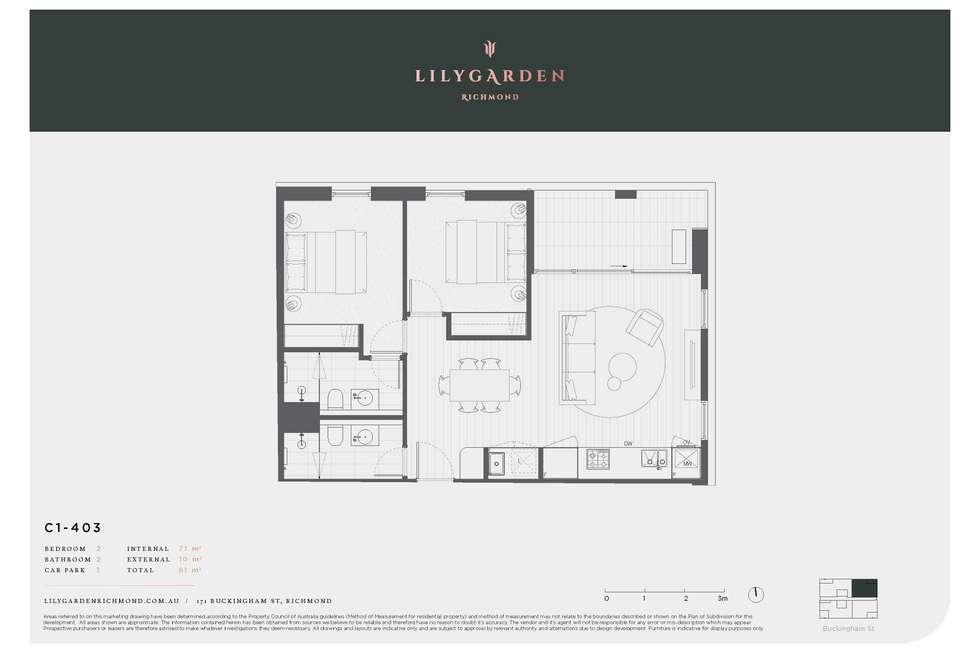 Floorplan of Homely apartment listing, C-403 C-403/171 Buckingham Street, Richmond VIC 3121