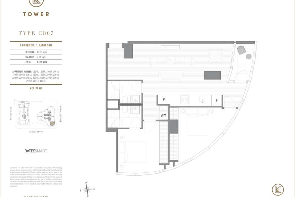 Floorplan of Homely apartment listing, 2504/1 Almeida Crescent, South Yarra VIC 3141