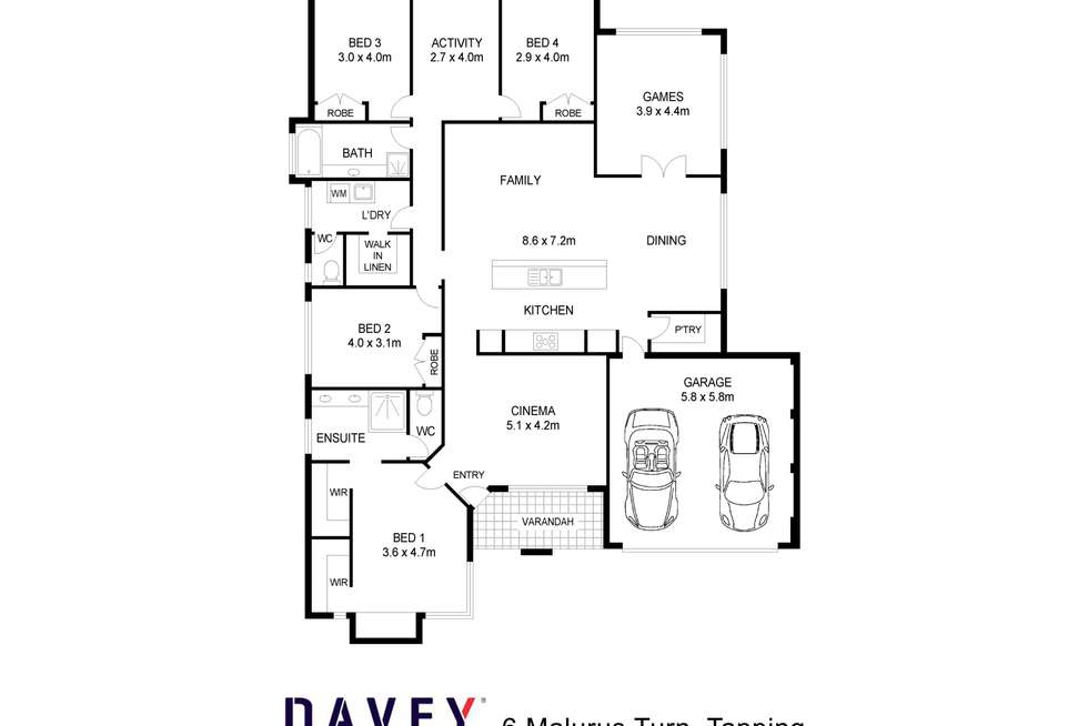Floorplan of Homely house listing, 6 Malurus Turn, Tapping WA 6065
