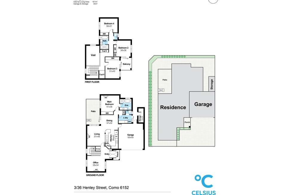 Floorplan of Homely townhouse listing, 3/36 Henley Street, Como WA 6152
