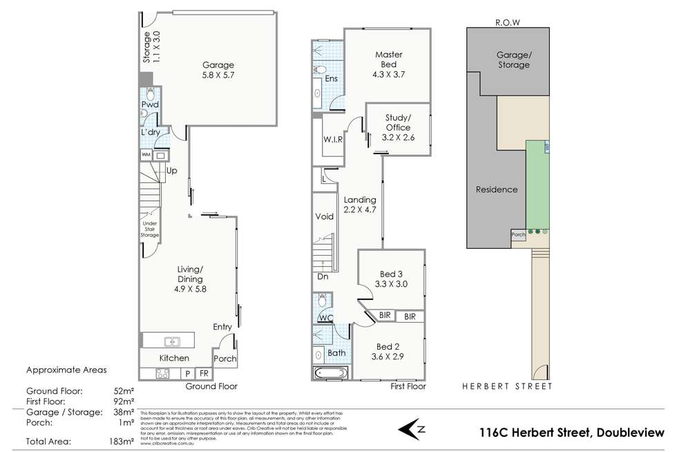 Floorplan of Homely townhouse listing, 116C Herbert Street, Doubleview WA 6018