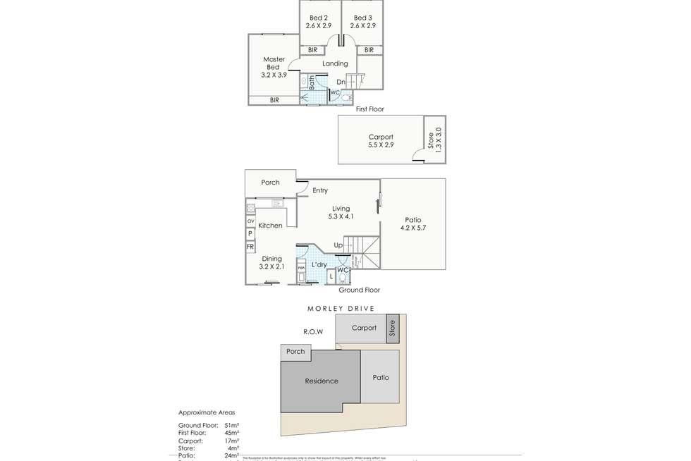 Floorplan of Homely townhouse listing, 2/93 Morley Drive, Nollamara WA 6061
