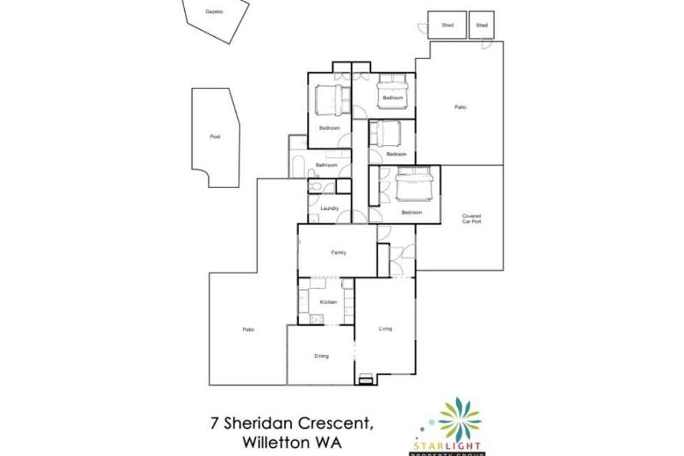 Floorplan of Homely house listing, 7 Sheridan Crescent, Willetton WA 6155
