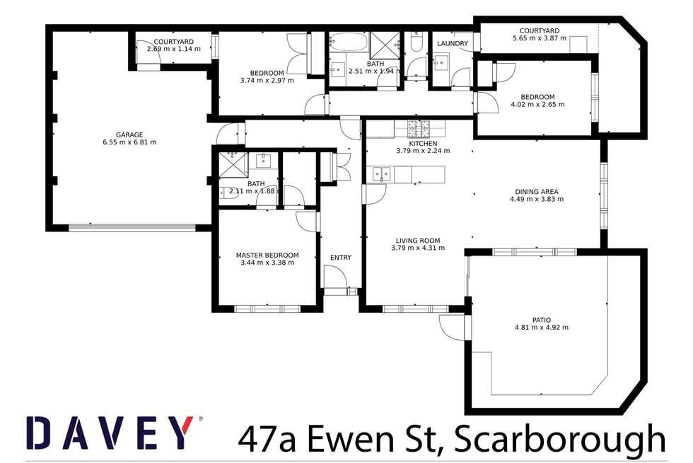Floorplan of Homely villa listing, 47A Ewen Street, Scarborough WA 6019