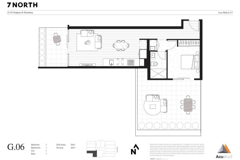 Floorplan of Homely apartment listing, G.06 23-25 Clapham Street, Thornbury VIC 3071