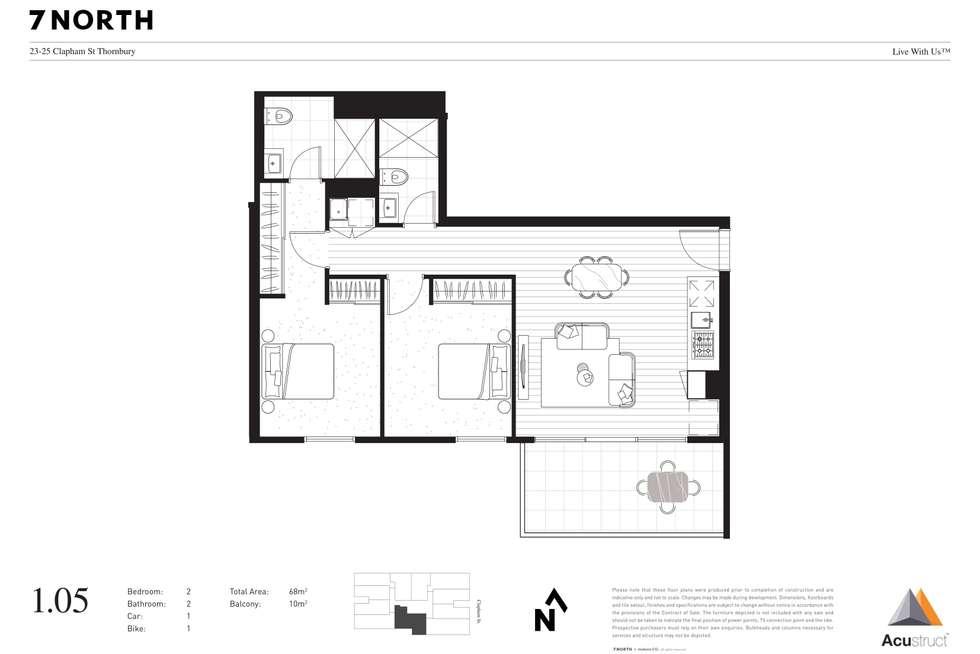 Floorplan of Homely apartment listing, 1.05 23-25 Clapham Street, Thornbury VIC 3071