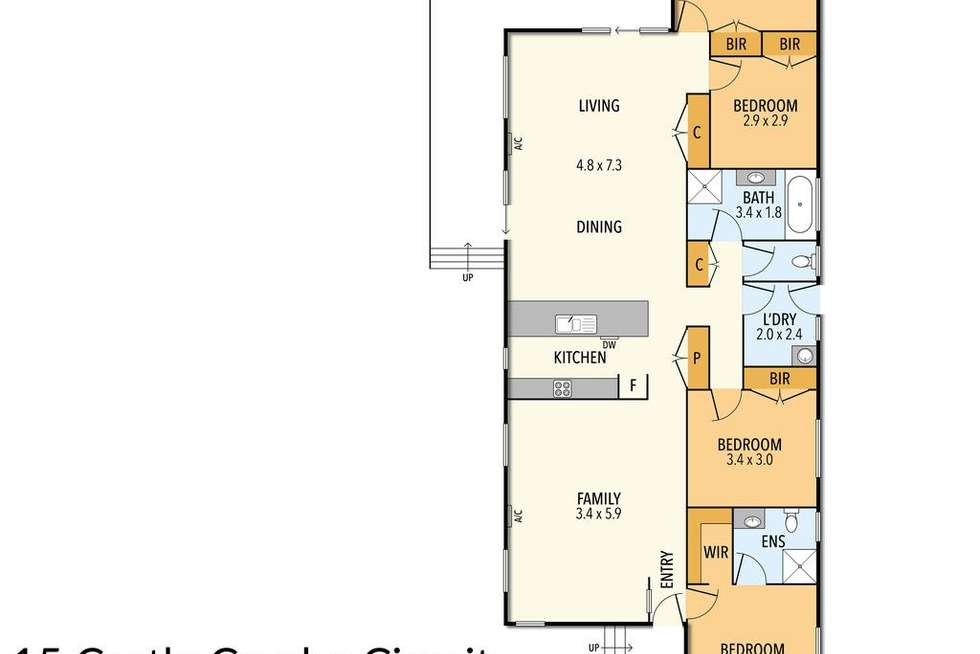 Floorplan of Homely house listing, 15 Castle Combe Circuit, Cowes VIC 3922