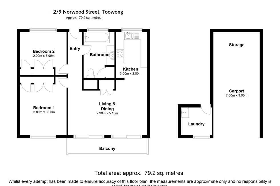 Floorplan of Homely unit listing, 2/9 Norwood Street, Toowong QLD 4066