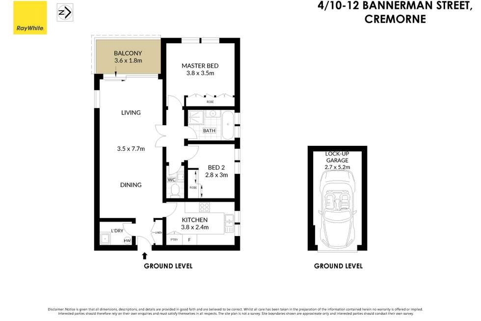 Floorplan of Homely apartment listing, 4/10-12 Bannerman Street, Cremorne NSW 2090