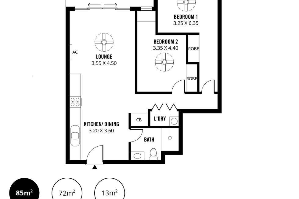 Floorplan of Homely unit listing, 402/3 Fourth Street, Bowden SA 5007
