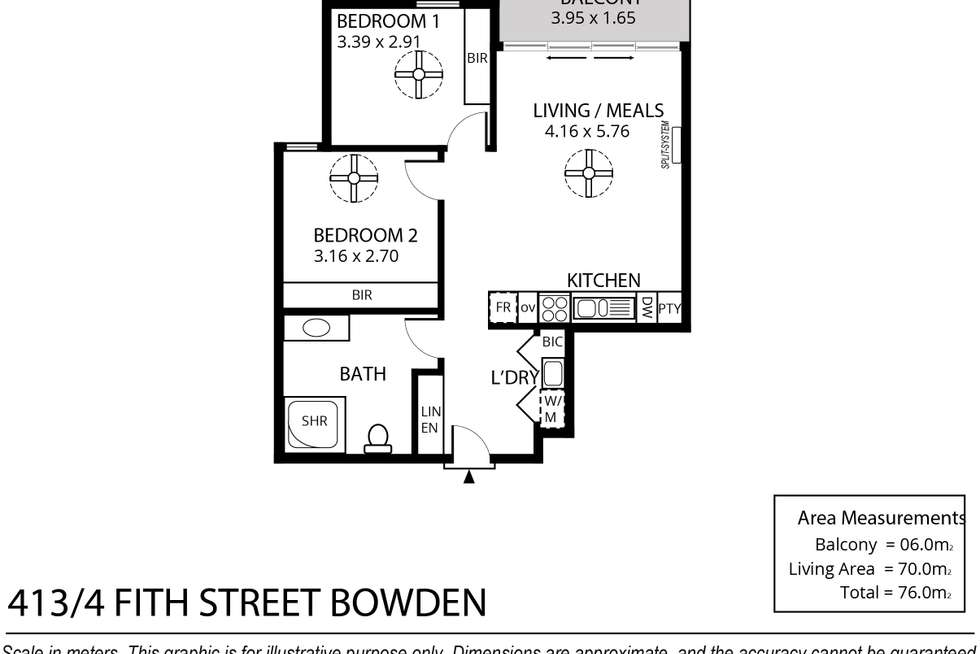 Floorplan of Homely apartment listing, 413/4 Fifth Street, Bowden SA 5007