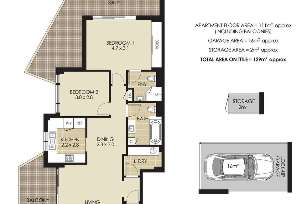 Floorplan of Homely apartment listing, 2/15-17 Hampden Avenue, Cremorne NSW 2090