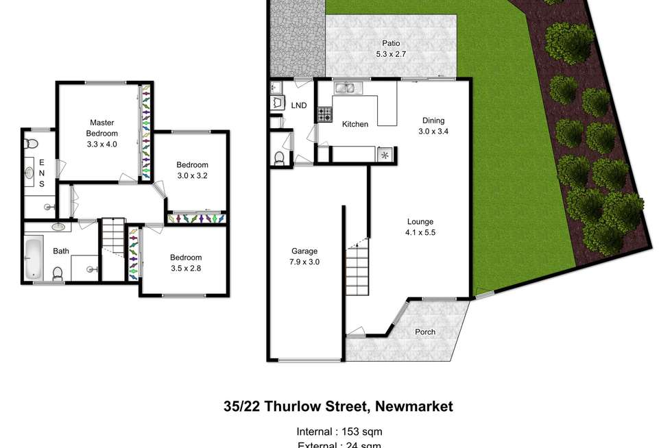Floorplan of Homely townhouse listing, 35/22 Thurlow Street, Newmarket QLD 4051