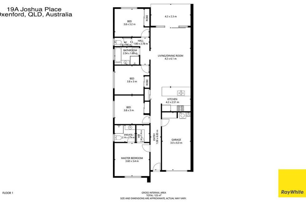 Floorplan of Homely semiDetached listing, 1/19 Joshua Place, Oxenford QLD 4210