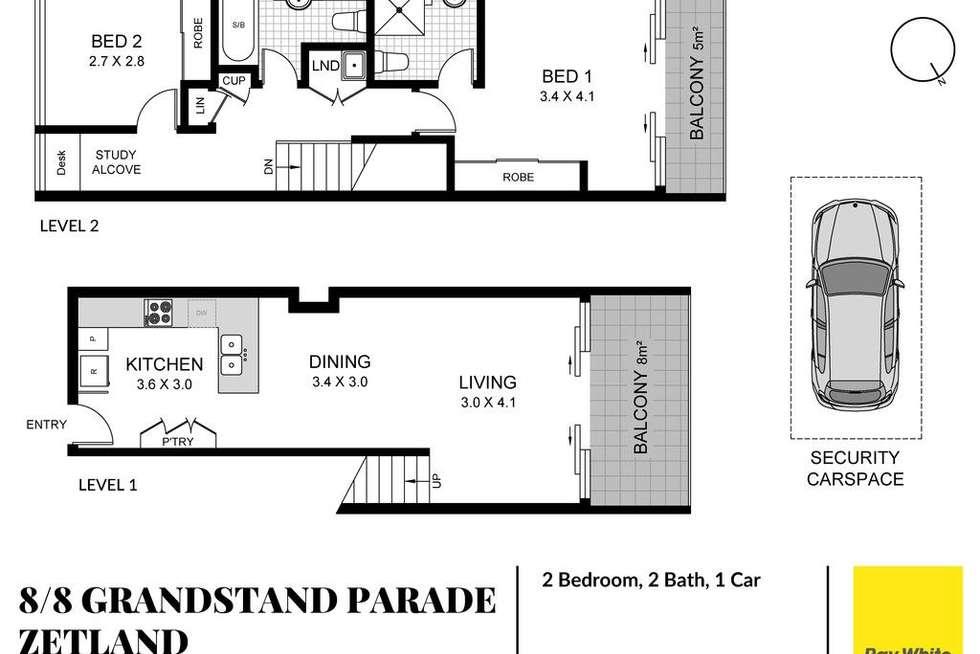 Floorplan of Homely apartment listing, 8/8 Grandstand Pde (Access via 28 Gadigal Av), Zetland NSW 2017