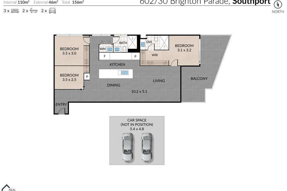 Floorplan of Homely apartment listing, 602/30 Brighton Parade, Southport QLD 4215