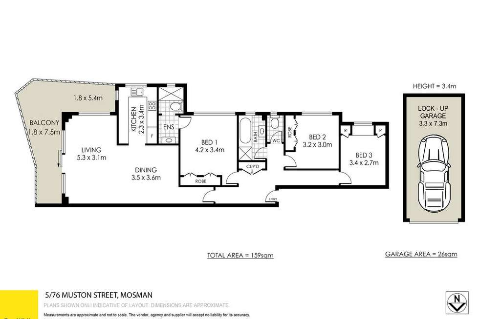 Floorplan of Homely apartment listing, 5/76 Muston Street, Mosman NSW 2088