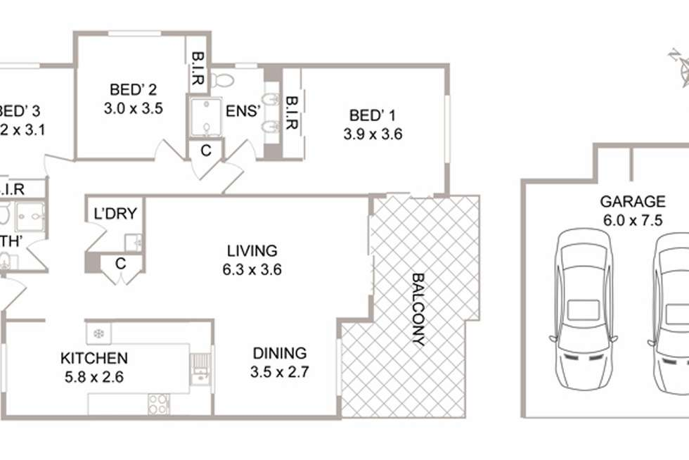 Floorplan of Homely apartment listing, 1/11 Cates Place, St Ives NSW 2075