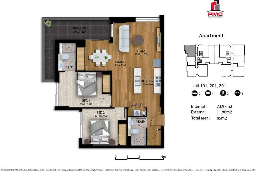 Floorplan of Homely apartment listing, 301/30 Donald Street, Carlingford NSW 2118