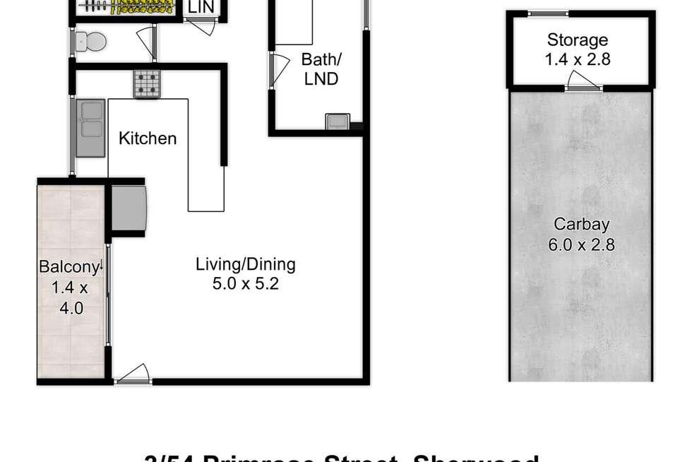 Floorplan of Homely unit listing, 3/54 Primrose Street, Sherwood QLD 4075