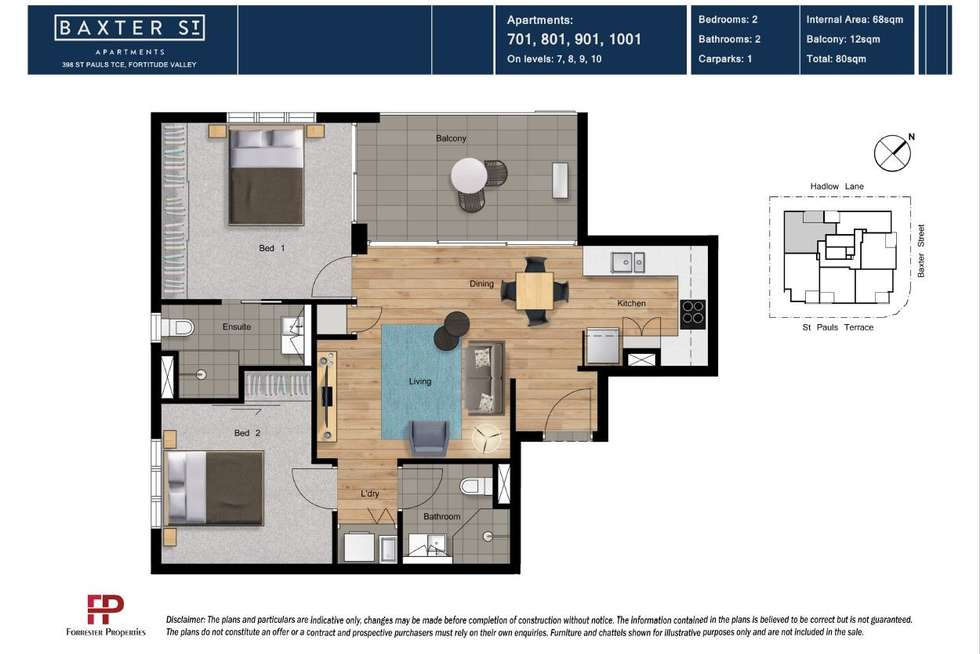 Floorplan of Homely apartment listing, 701/398 St Pauls Terrace, Fortitude Valley QLD 4006