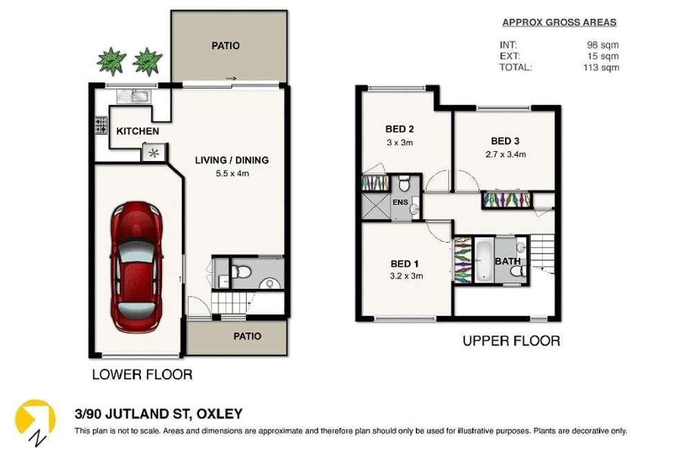 Floorplan of Homely townhouse listing, 3/90 Jutland Street, Oxley QLD 4075