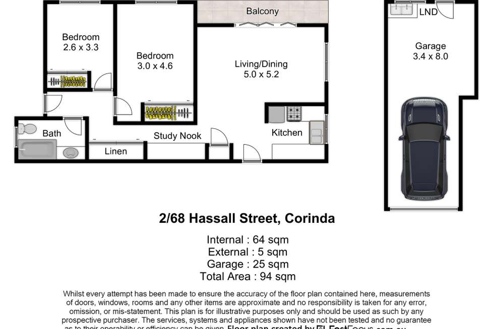 Floorplan of Homely unit listing, 2/68 Hassall Street, Corinda QLD 4075