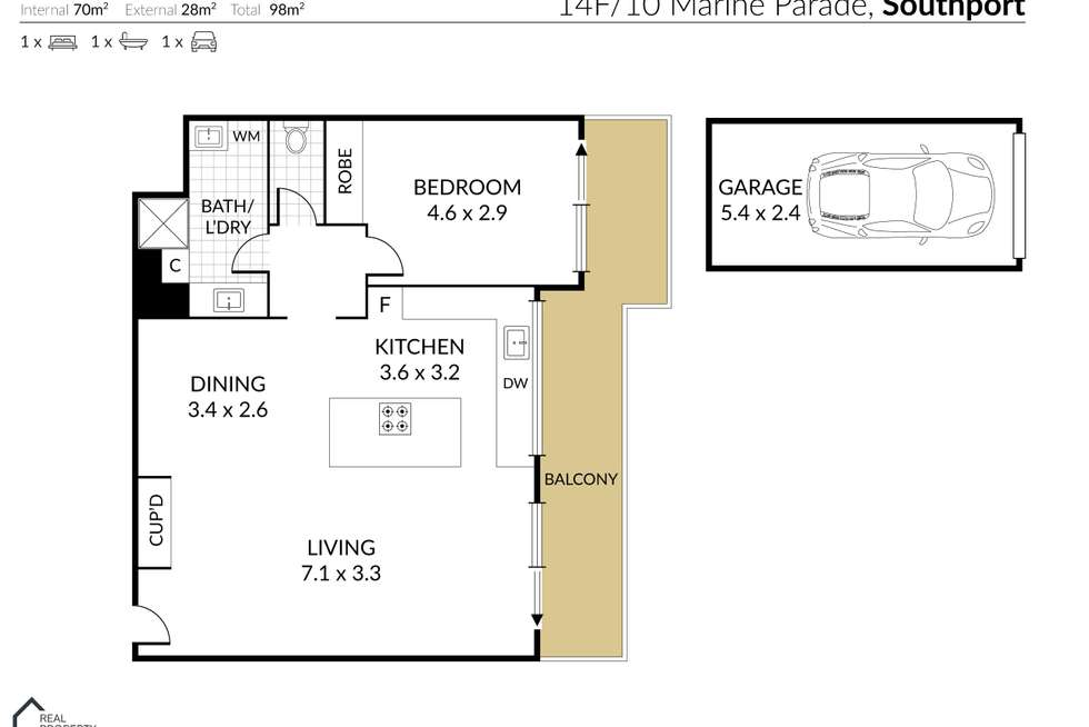 Floorplan of Homely unit listing, 14F/10 Marine Parade, Southport QLD 4215
