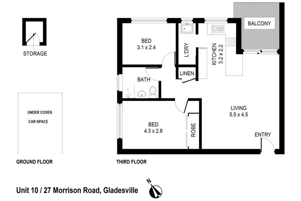 Floorplan of Homely apartment listing, 10/27-29 Morrison Road, Gladesville NSW 2111