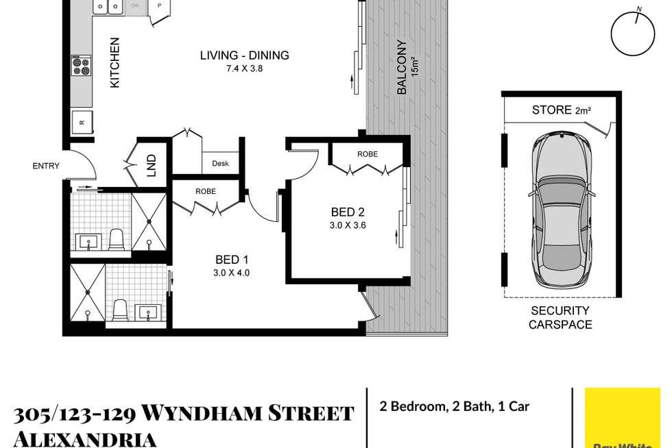 Floorplan of Homely apartment listing, 305/123-129 Wyndham Street, Alexandria NSW 2015