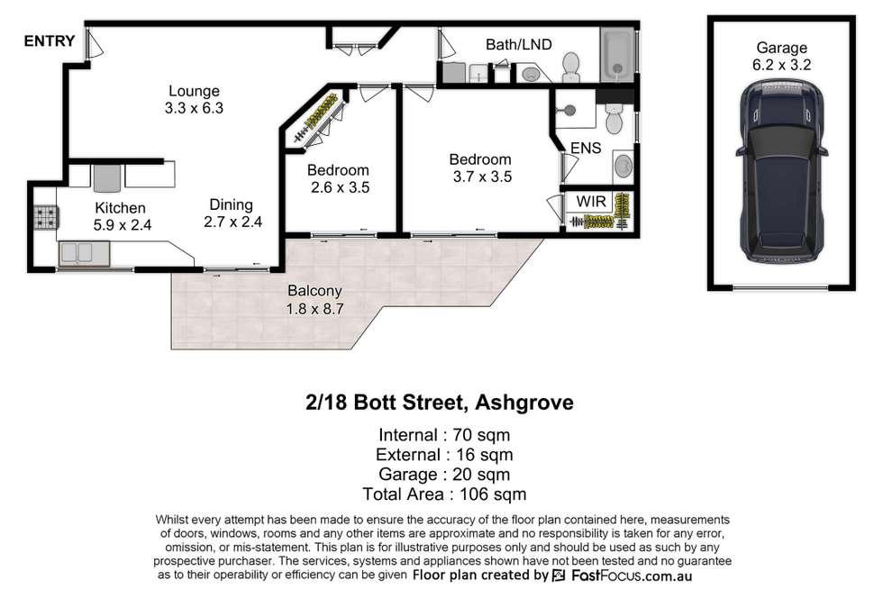Floorplan of Homely apartment listing, 2/18 Bott Street, Ashgrove QLD 4060