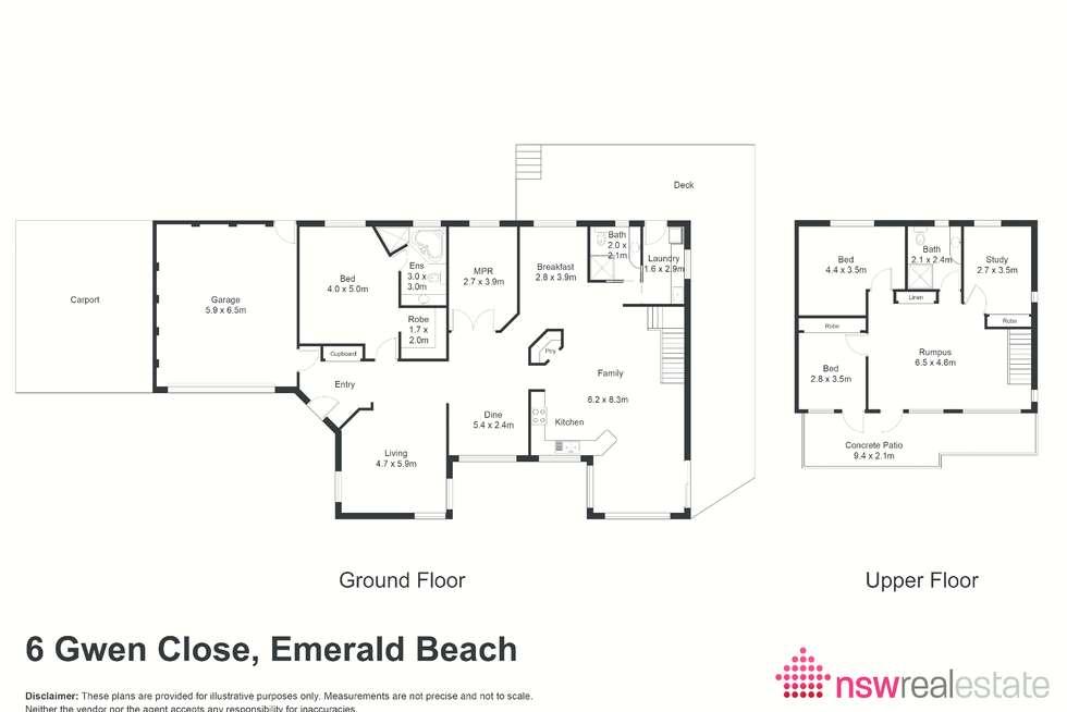 Floorplan of Homely house listing, 6 Gwen Close, Emerald Beach NSW 2456