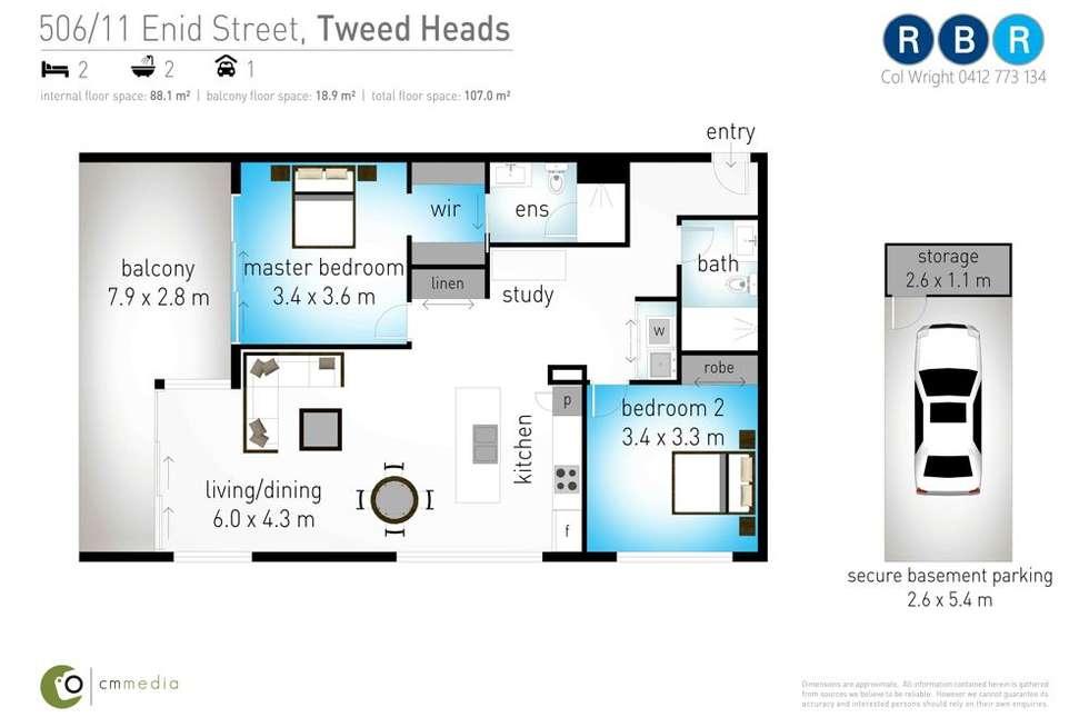 Floorplan of Homely unit listing, 506/11 Enid Street, Tweed Heads NSW 2485