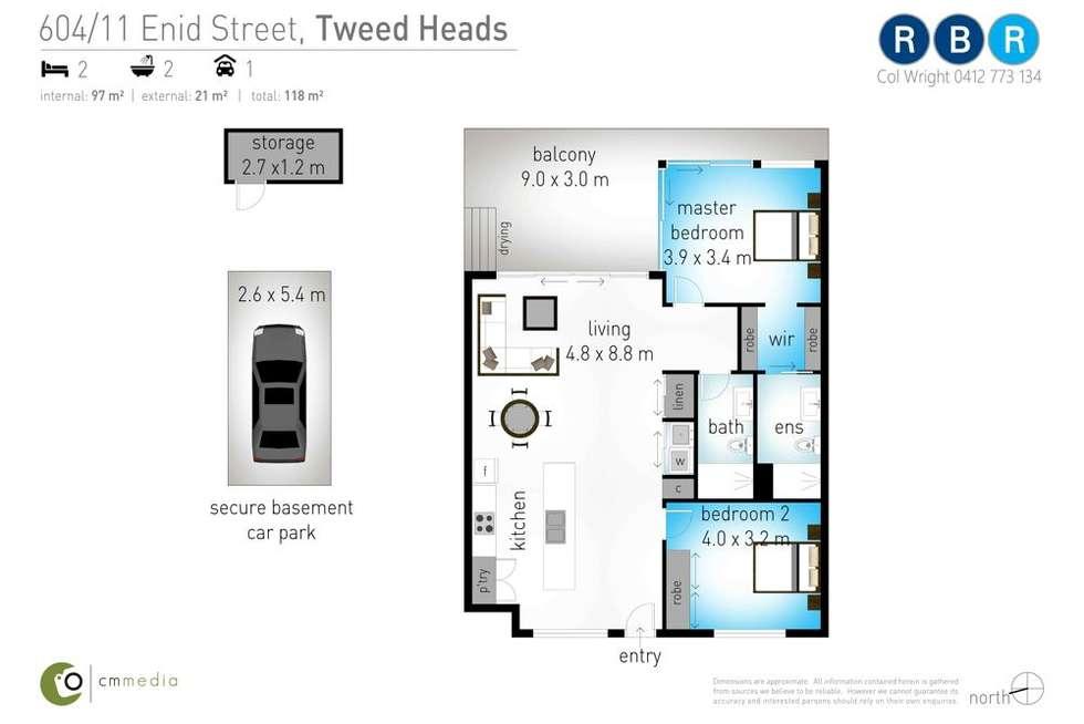 Floorplan of Homely apartment listing, 604/11 Enid Street, Tweed Heads NSW 2485