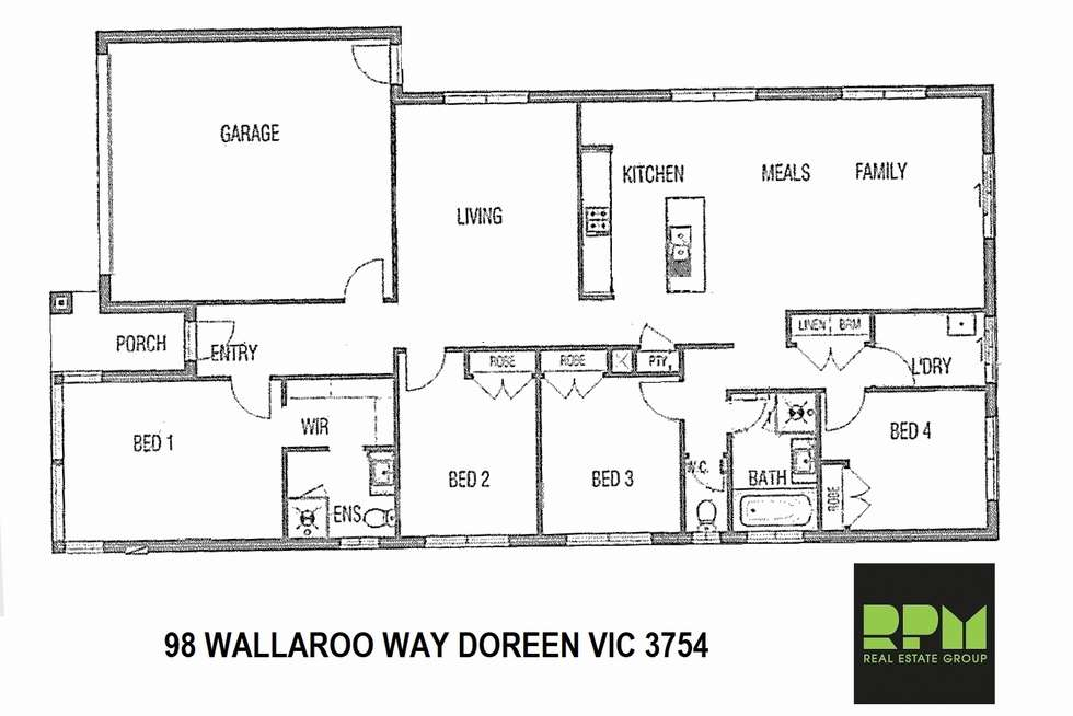 Floorplan of Homely house listing, 98 Wallaroo Way, Doreen VIC 3754