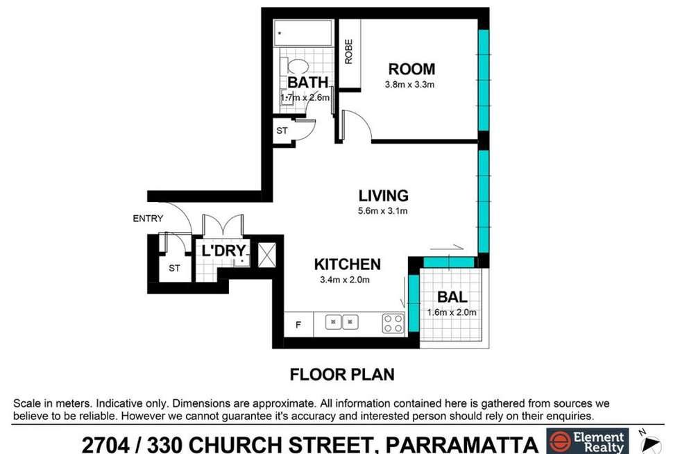 Floorplan of Homely apartment listing, 2704/330 Church Street, Parramatta NSW 2150