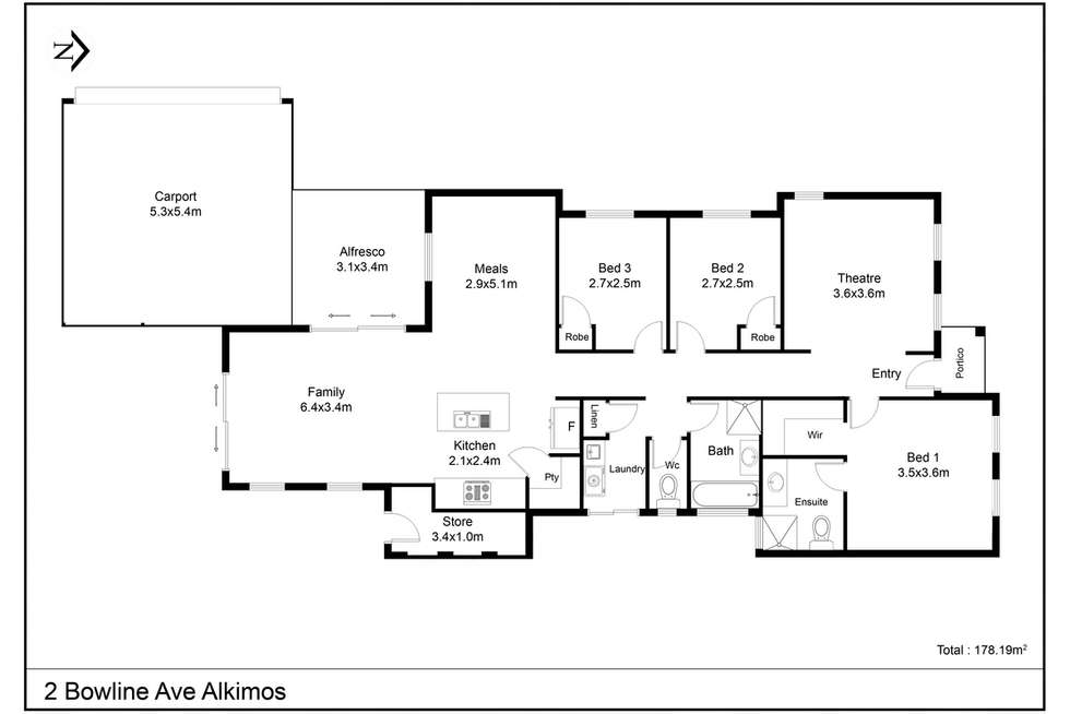 Floorplan of Homely house listing, 2 Bowline Avenue, Alkimos WA 6038