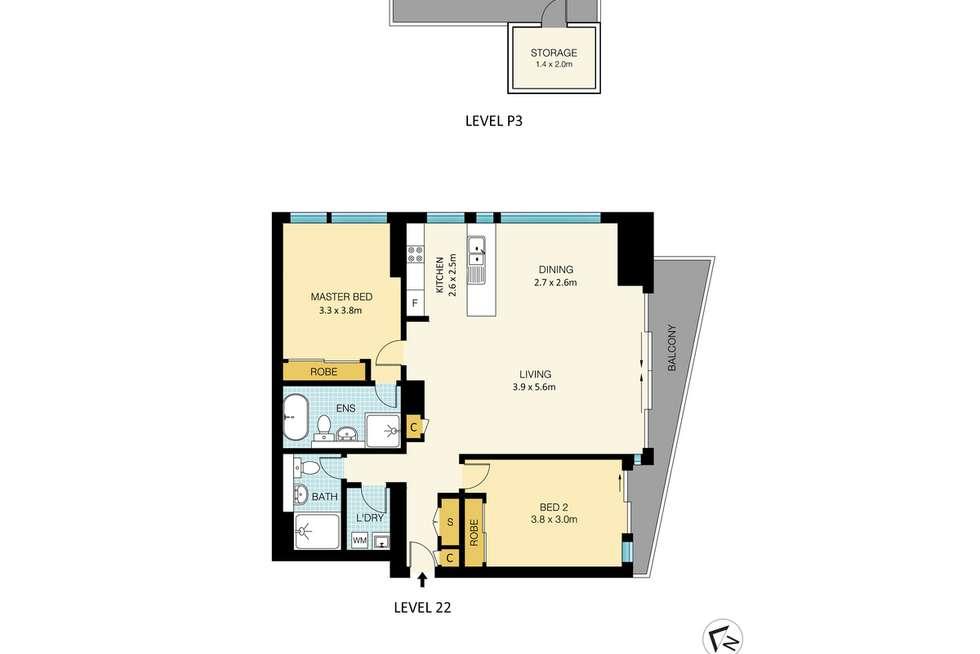 Floorplan of Homely unit listing, 2205/330 Church Street, Parramatta NSW 2150