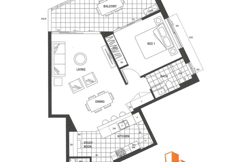 Floorplan of Homely apartment listing, 511/50 Connor Street, Kangaroo Point QLD 4169