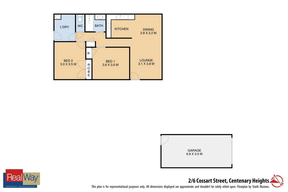 Floorplan of Homely unit listing, 2/6 Cossart Street, Centenary Heights QLD 4350