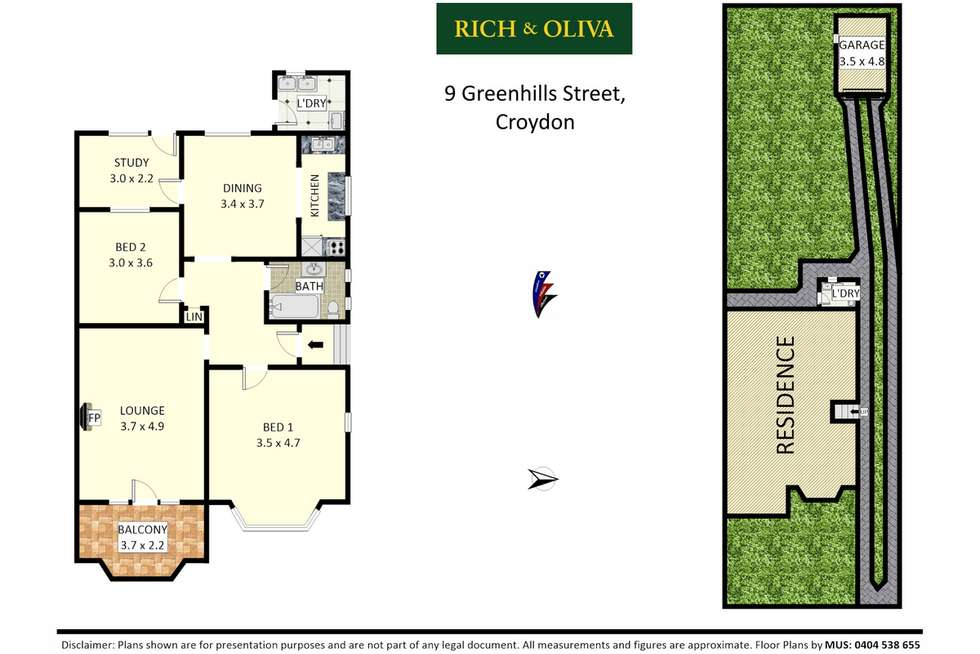 Floorplan of Homely semiDetached listing, 9 Greenhills Street, Croydon NSW 2132