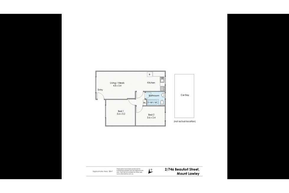 Floorplan of Homely unit listing, 2/746 Beaufort Street, Mount Lawley WA 6050