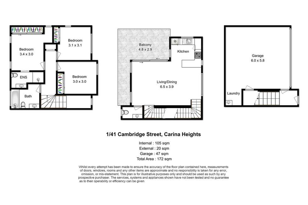 Floorplan of Homely townhouse listing, 1/41 Cambridge Street, Carina Heights QLD 4152