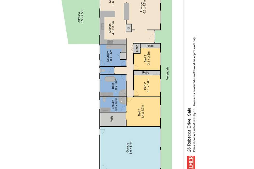 Floorplan of Homely house listing, 26 Rebecca Drive, Sale VIC 3850