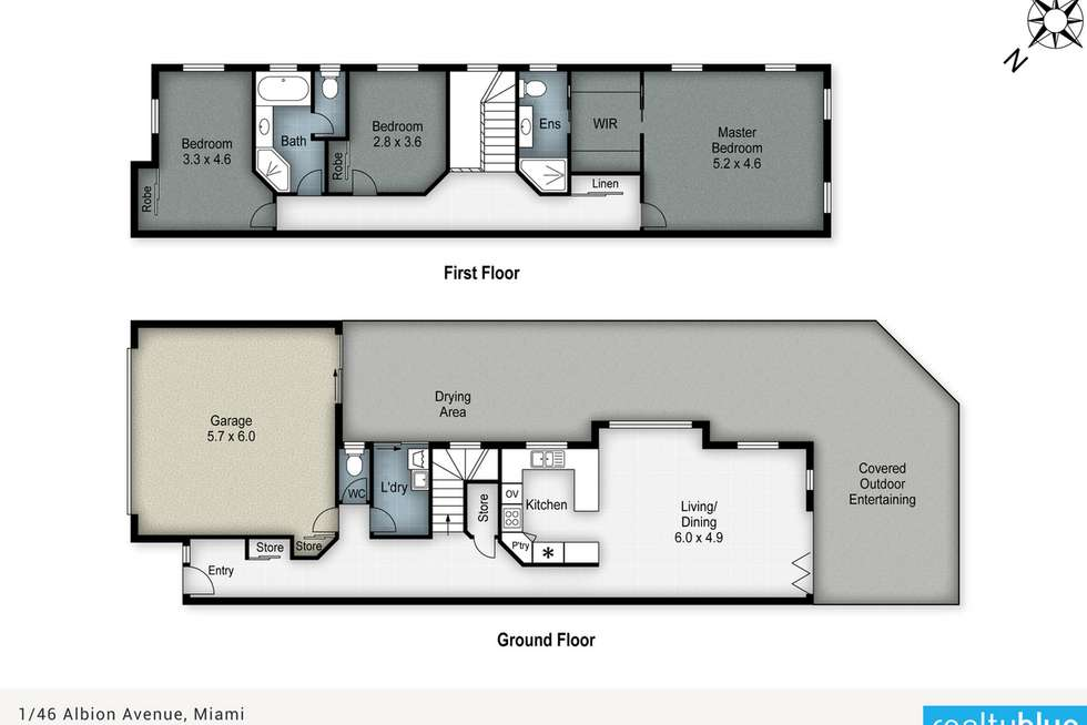 Floorplan of Homely semiDetached listing, 1/46 Albion Avenue, Miami QLD 4220